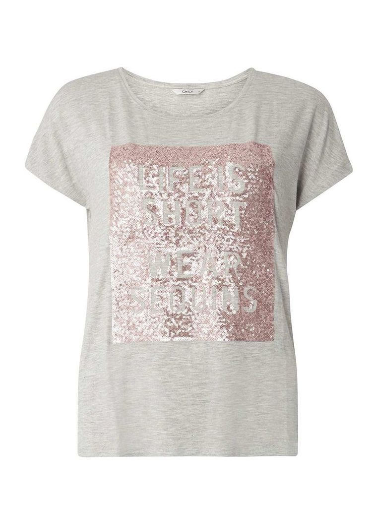 Womens **Only Grey Slogan Sequin T-Shirt- Grey