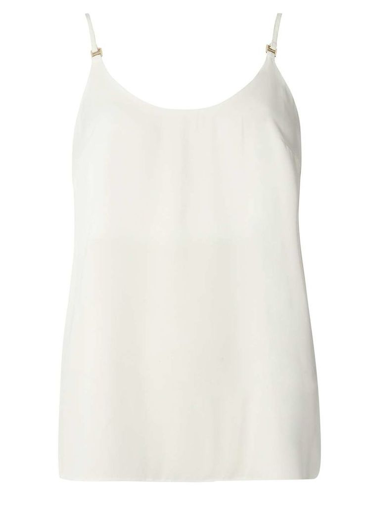 Womens Ivory Metal Trim Camisole Top- White