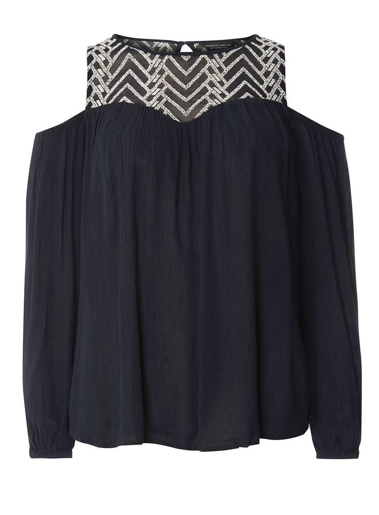 Womens Navy Embroidered Cold-Shoulder Top- Blue