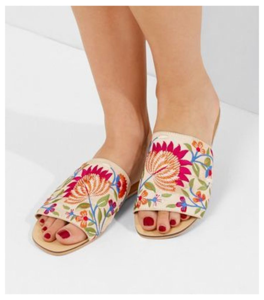 White Floral Embroidered Mules
