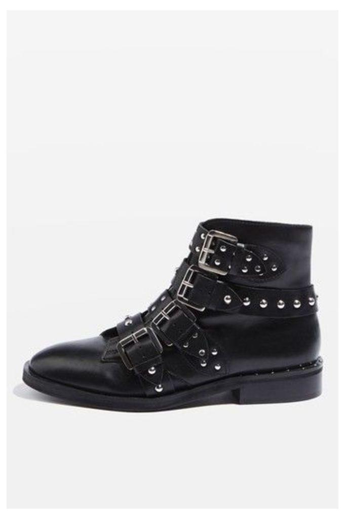 Womens AMELIA Studded Boots - Black, Black