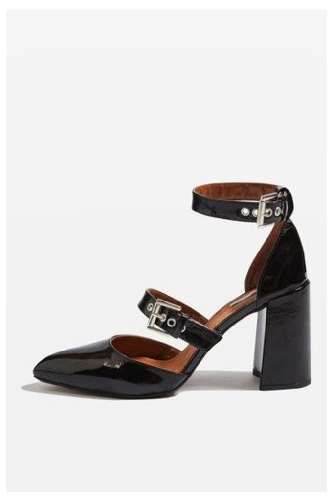 Womens GUSTO Buckle Strap Block Heels - Black, Black