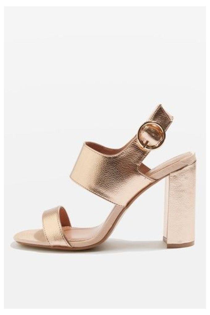 Womens MONIQUE Strap Block Sandals - Rose Gold, Rose Gold