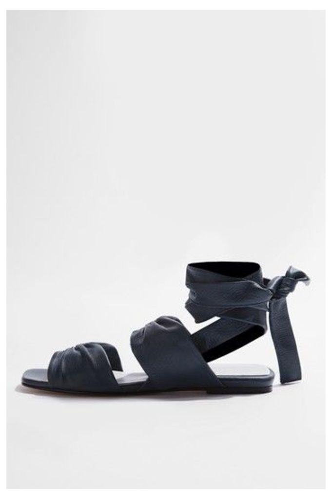 Womens Tie Flat Sandals Molly Goddard x Topshop - Navy Blue, Navy Blue