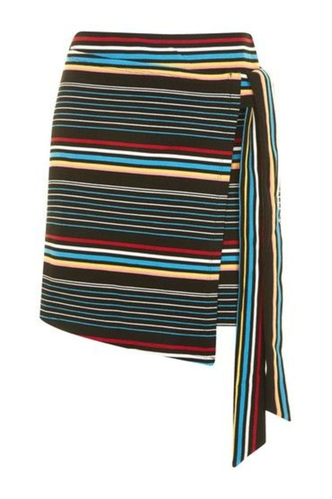 Womens Bright Stripe Wrap Skirt - Black, Black