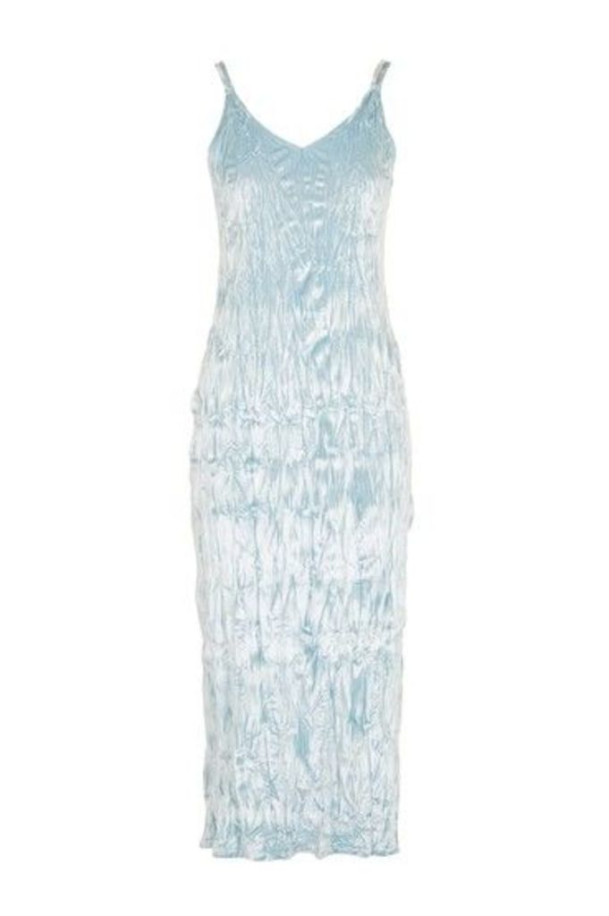Womens Crushed Velvet Cami Midi Dress - Ice Blue, Ice Blue
