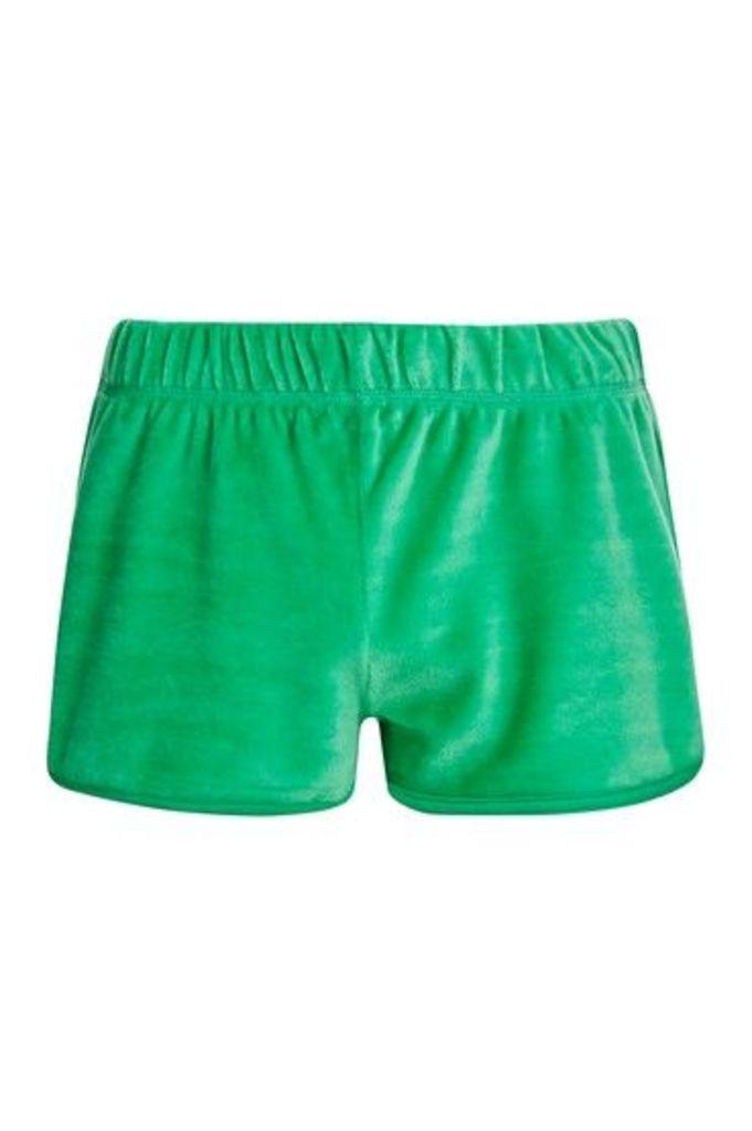 Womens Velour Runner Shorts - Green, Green