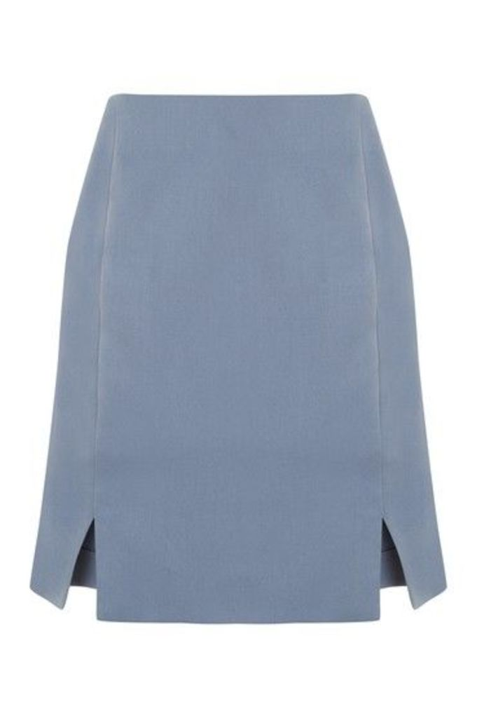 Womens Tailored Skirt - Washed Blue, Washed Blue