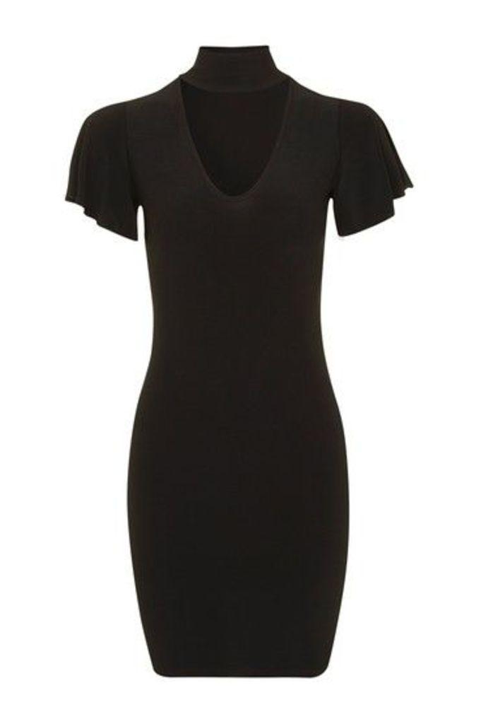 Womens **Bodycon Choker Dress by Glamorous Petites - Black, Black