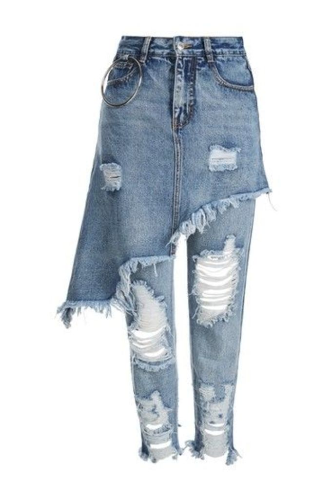 Womens **Skirt And Jeans Two-In-One by Kuccia - Blue, Blue