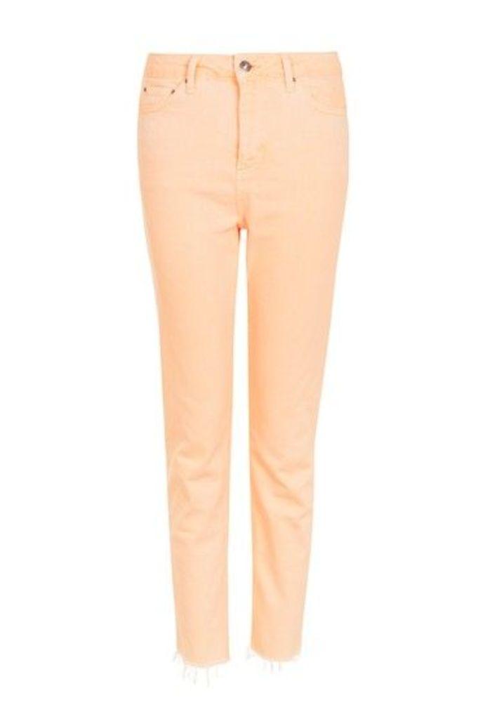 Womens MOTO Orange Raw Hem Straight Leg Jeans - Orange, Orange