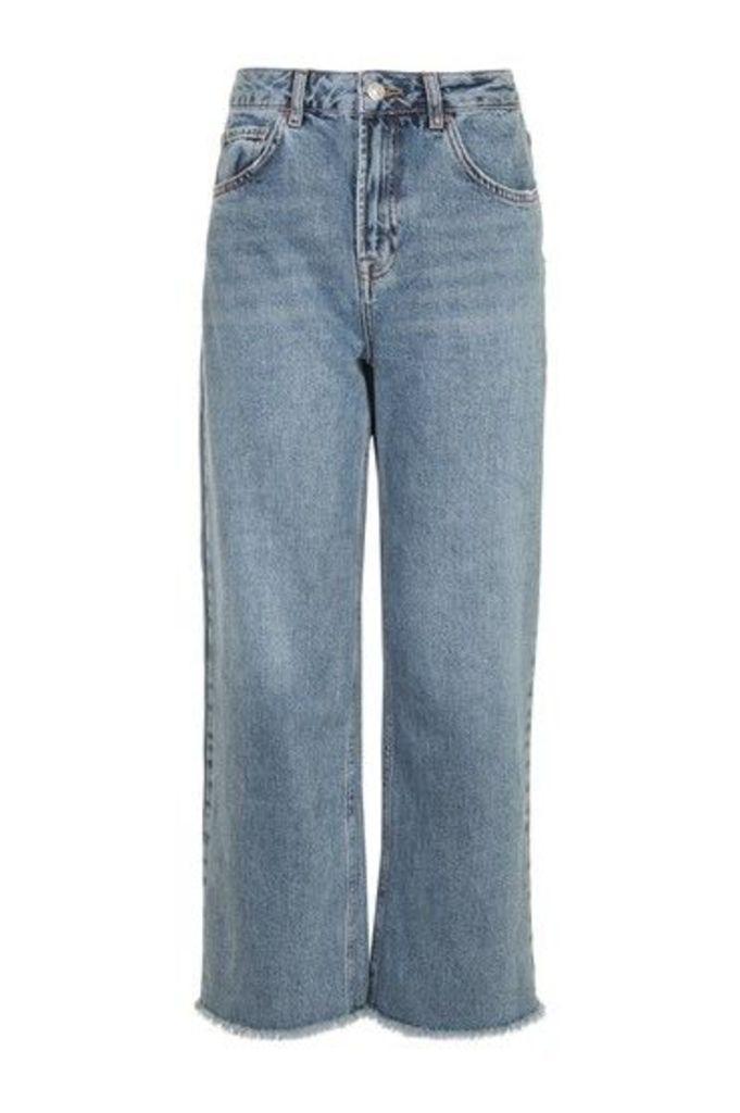 Womens MOTO Sulphur Blue Cropped Wide Leg Jeans - Blue, Blue