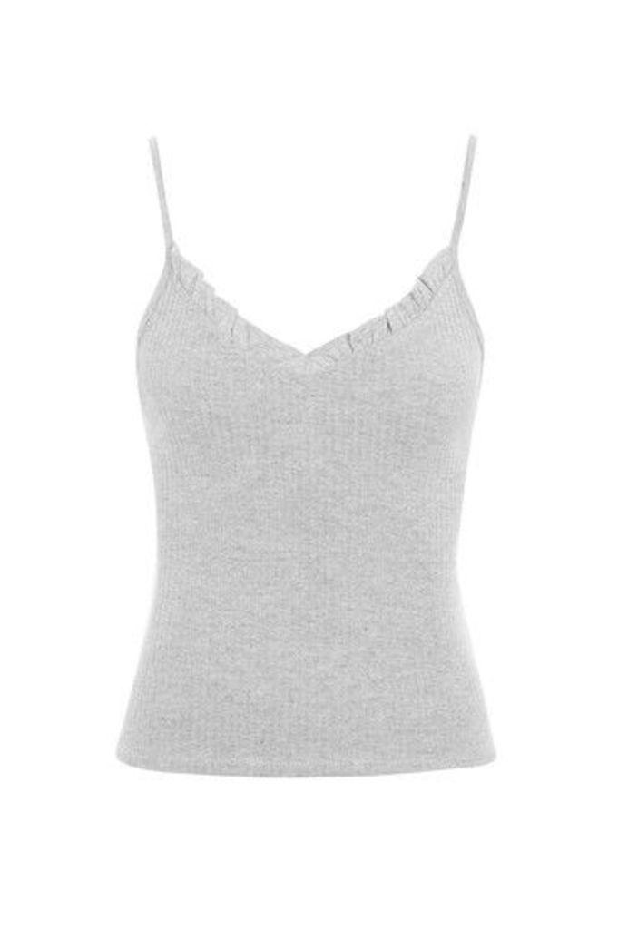Womens Frill Strappy Vest - Grey Marl, Grey Marl