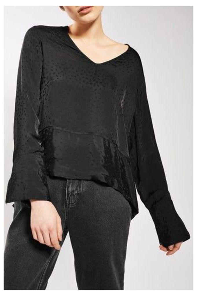 Womens Dropped Hem Jacquard Blouse by Boutique - Black, Black