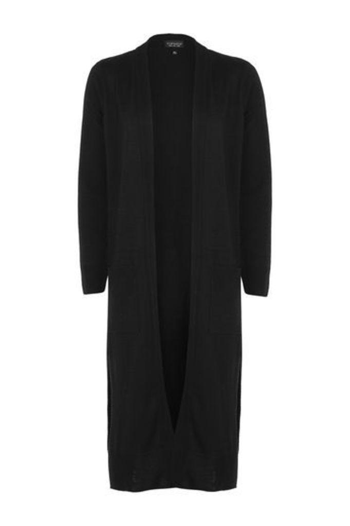 Womens Fine Gauge Midi Cardigan - Black, Black