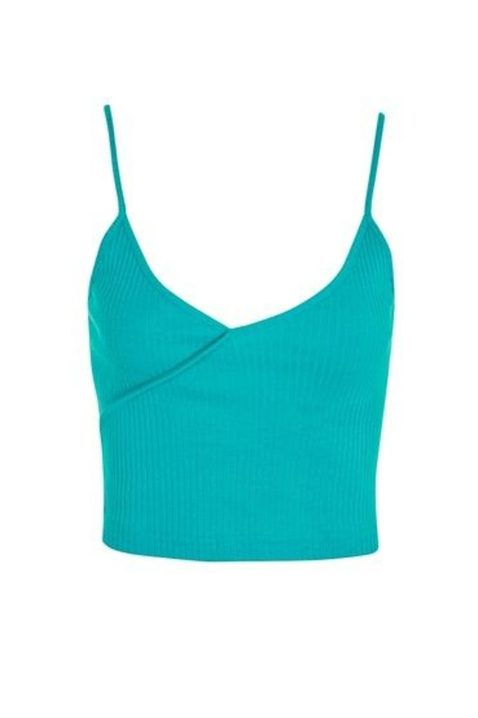 Womens PETITE Cropped Camisole Top - Green, Green