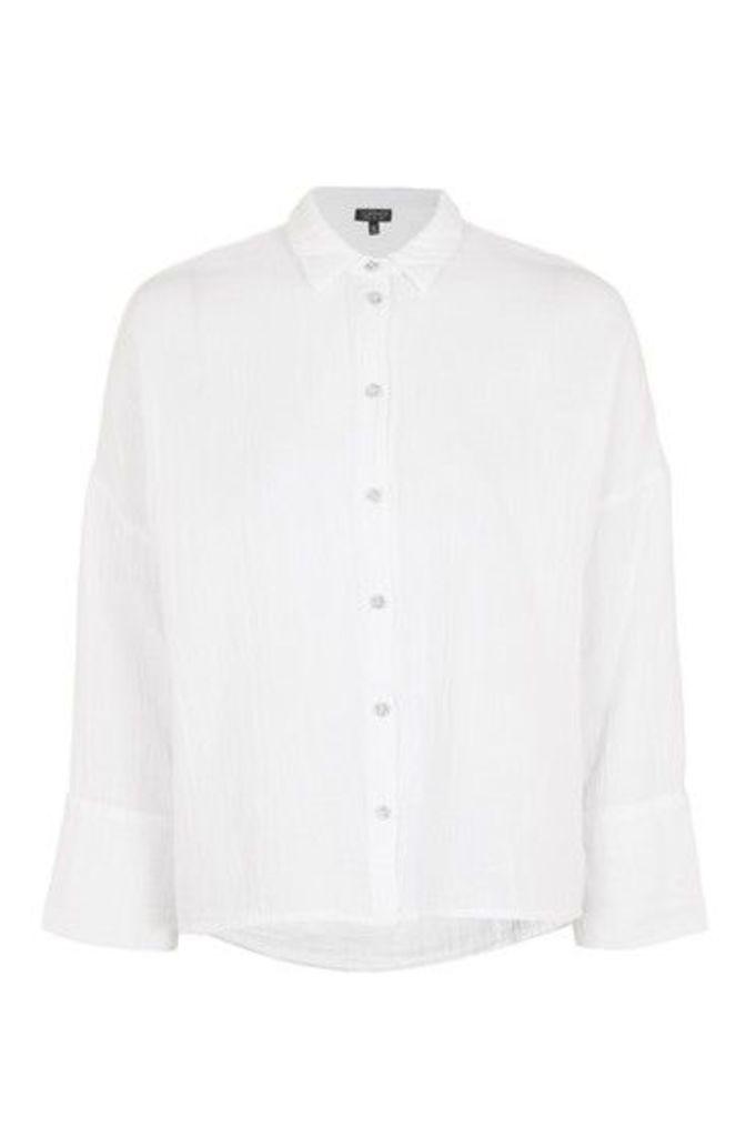 Womens Gauzy Crinkle Shirt - White, White