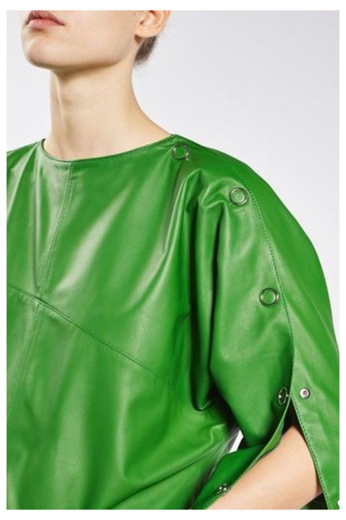 Womens Batwing Leather Top By Boutique - Green, Green