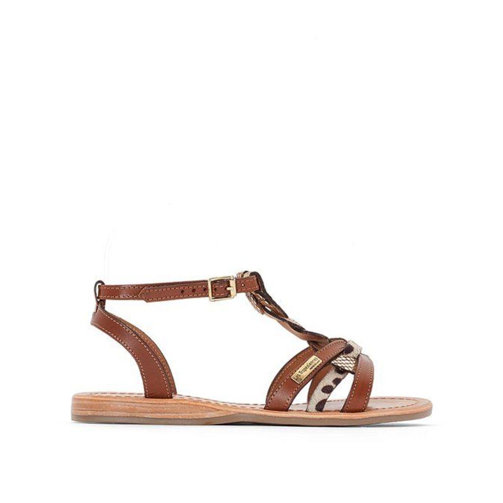 Hams Flat Leather Sandals