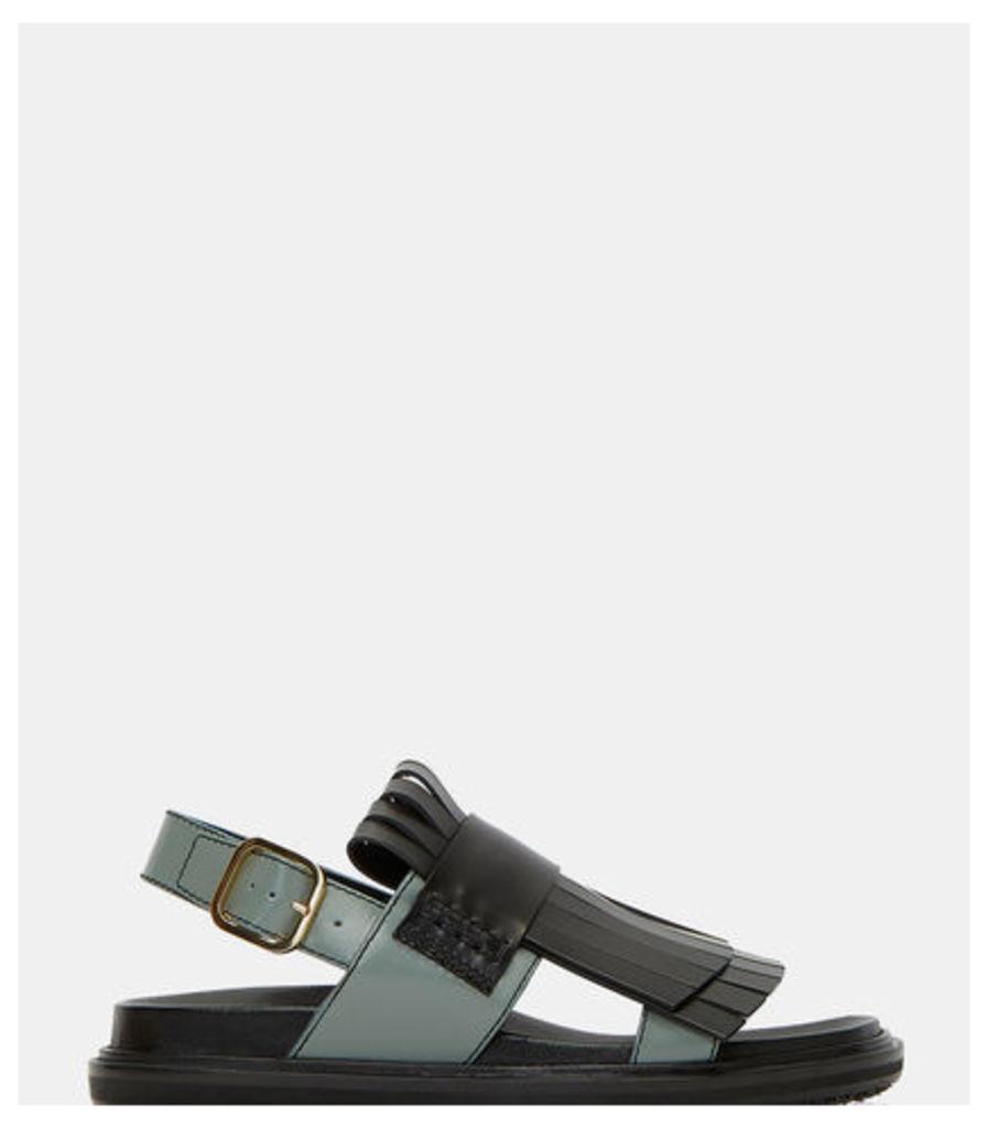 Fringed Bi-Colour Strap Sandals