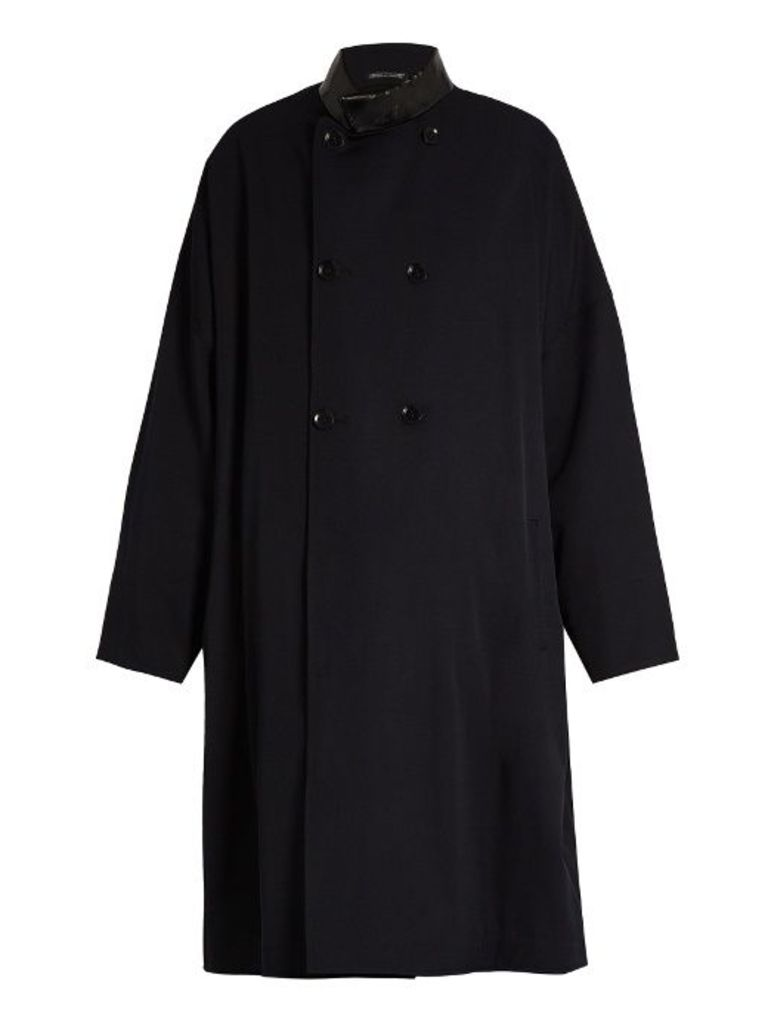 Double-breasted oversized wool coat