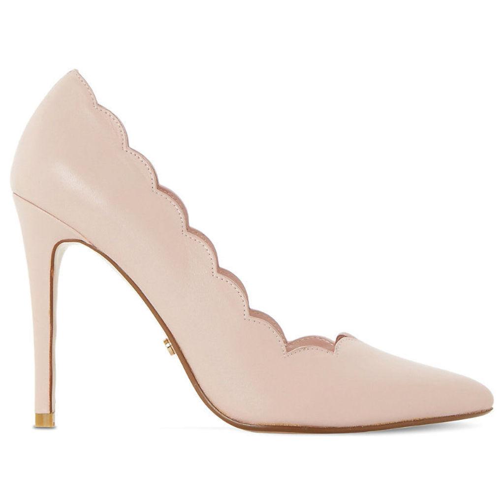 Athena scallop-trim leather court shoes