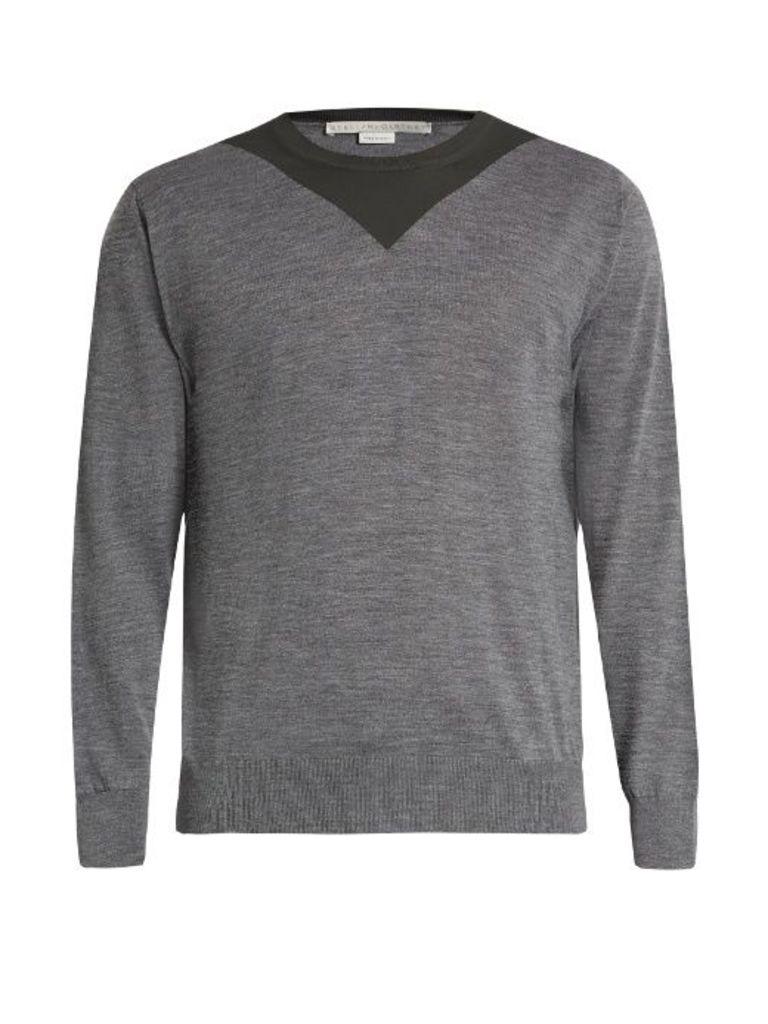 Two-tone crew-neck wool sweater