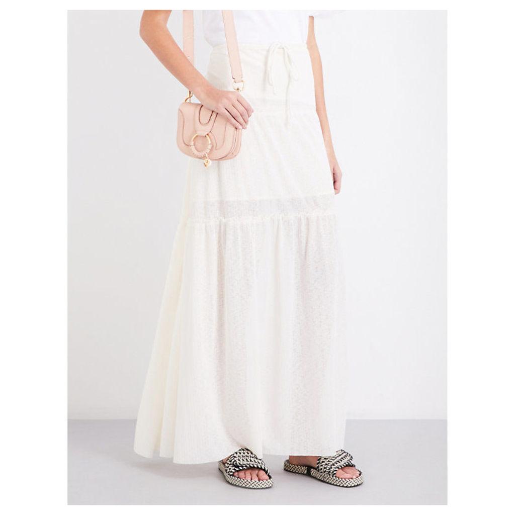 Drawstring tiered gauze maxi skirt