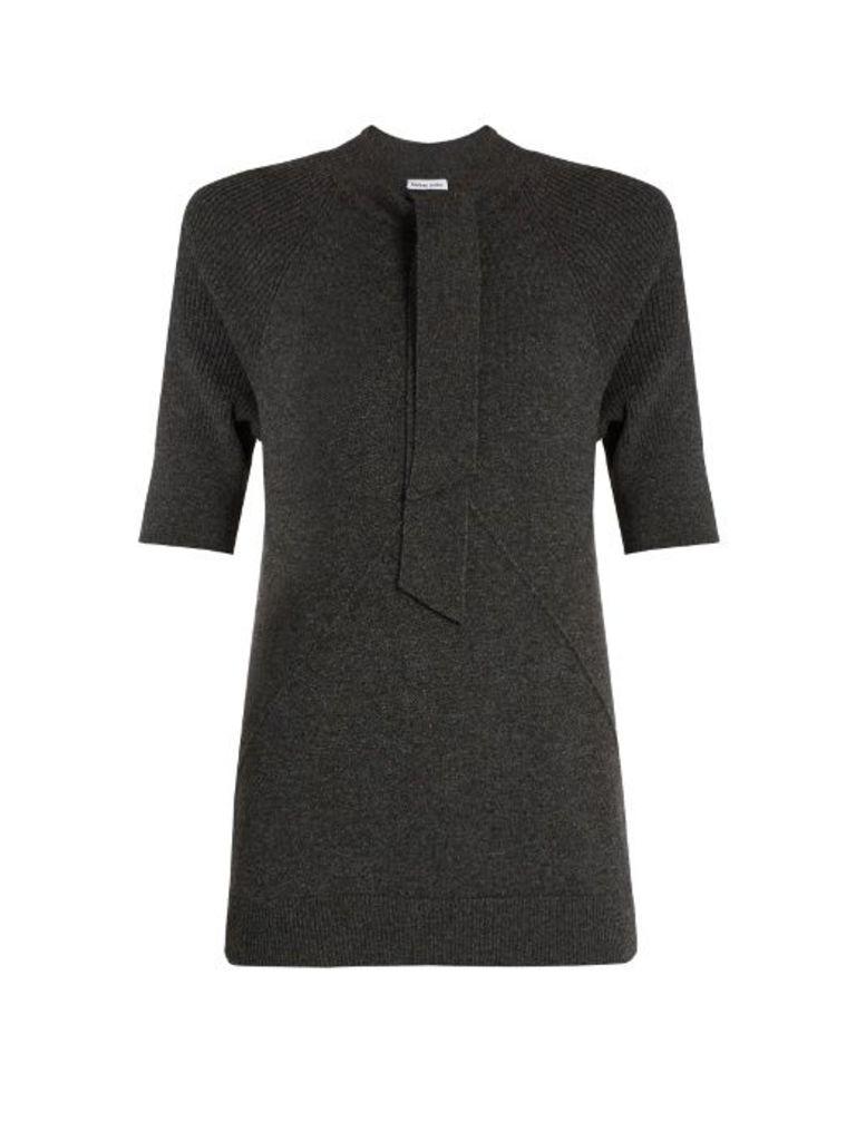 Tie-neck cashmere-knit top