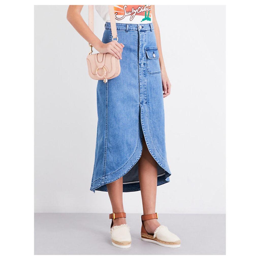 Curved front-split denim midi skirt