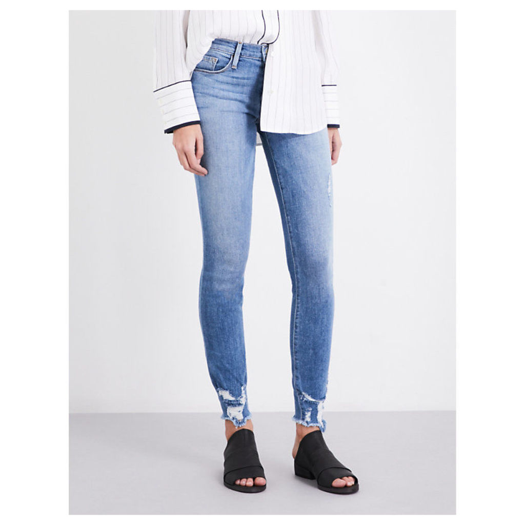 Frayed-hem skinny mid-rise jeans