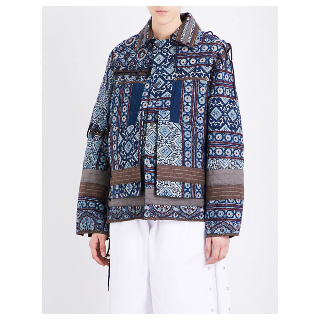 Decorative-print cotton and wool-blend jacket