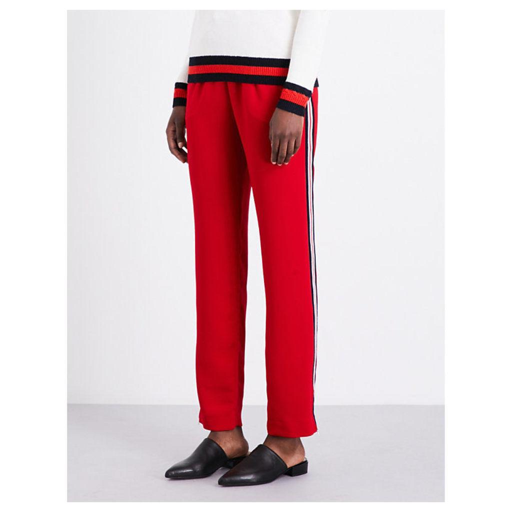 Parisien drawstring straight-leg crepe trousers