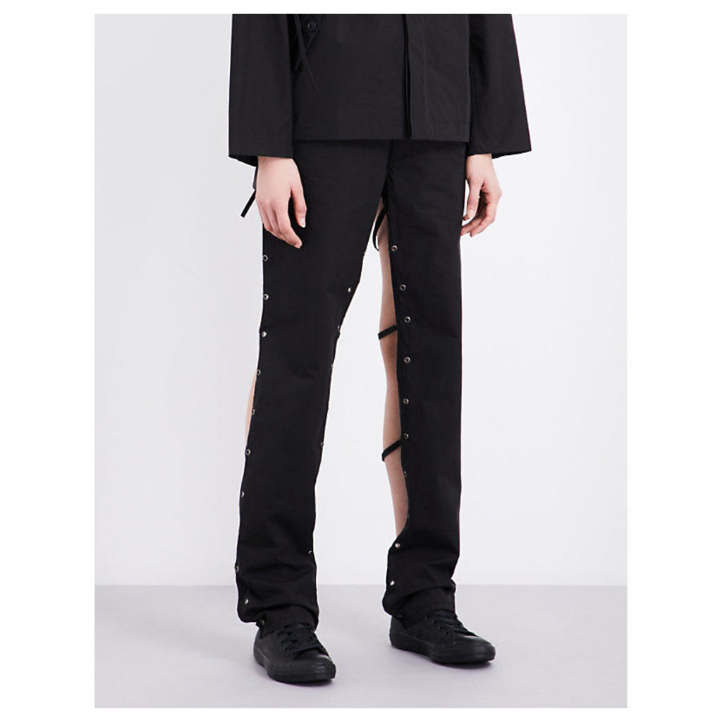 Backless straight-leg cotton-blend trousers
