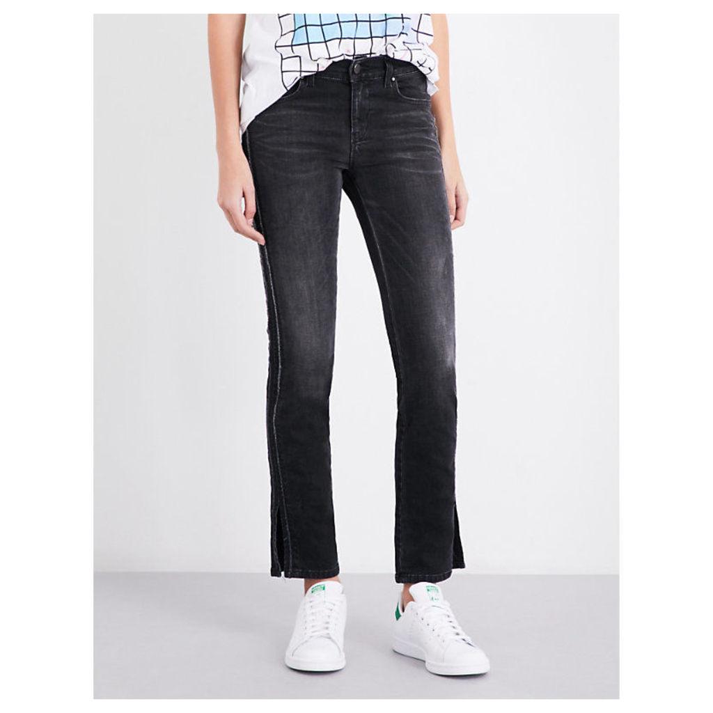 Ankle-split straight mid-rise jeans