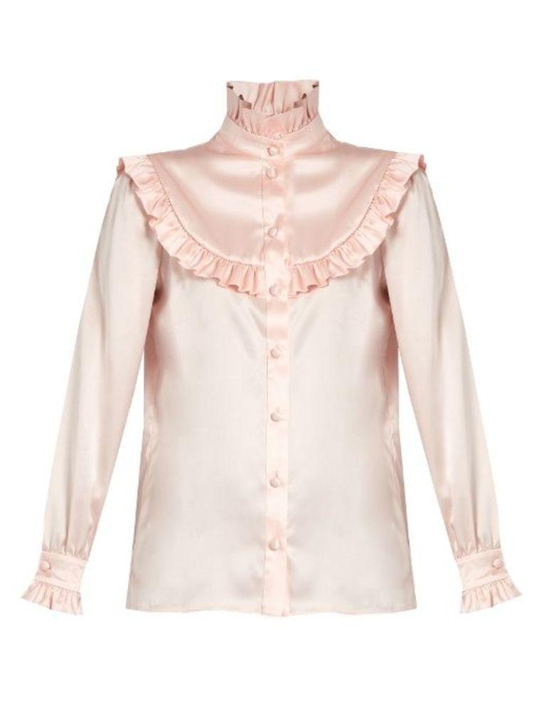 Ruffle-trimmed silk-satin blouse
