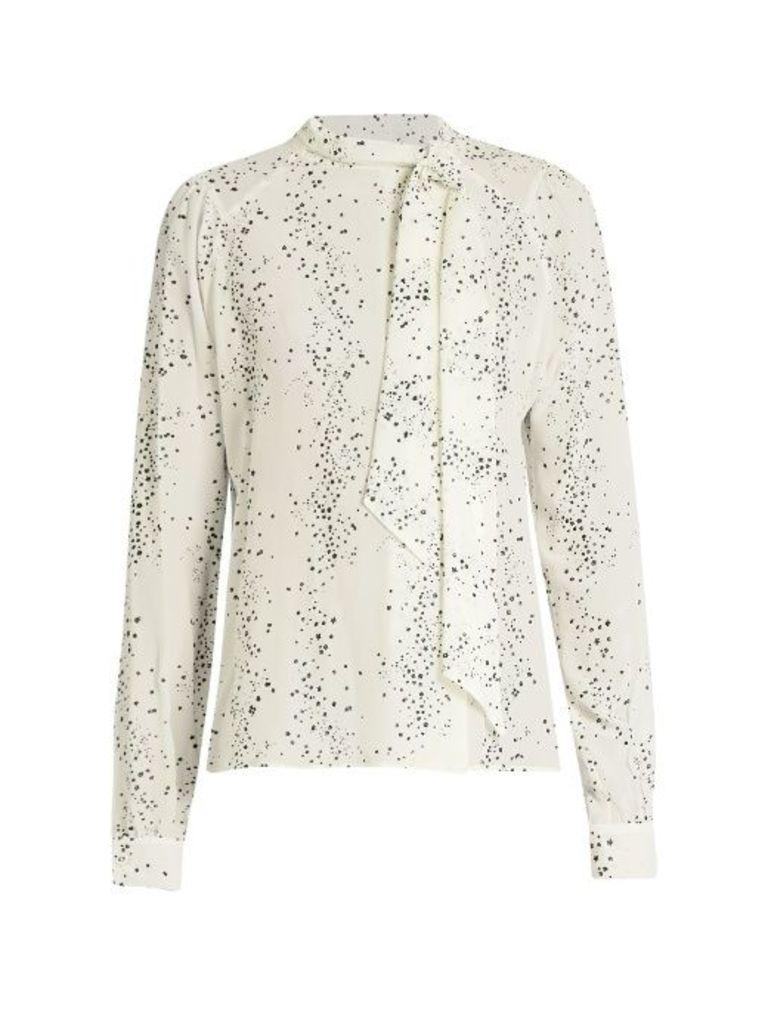 Cosmic-print silk crepe de Chine blouse