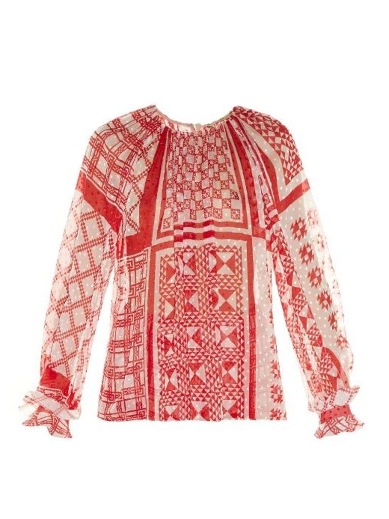 Foulard-print plumetis-chiffon blouse