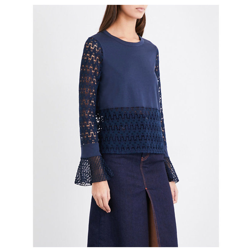 Ruffled geometric-lace and cotton-jersey top