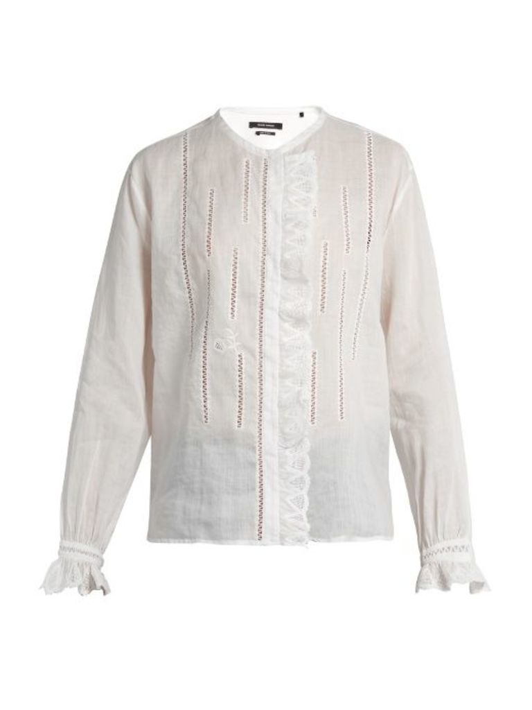 Amos collarless ruffle-trimmed blouse