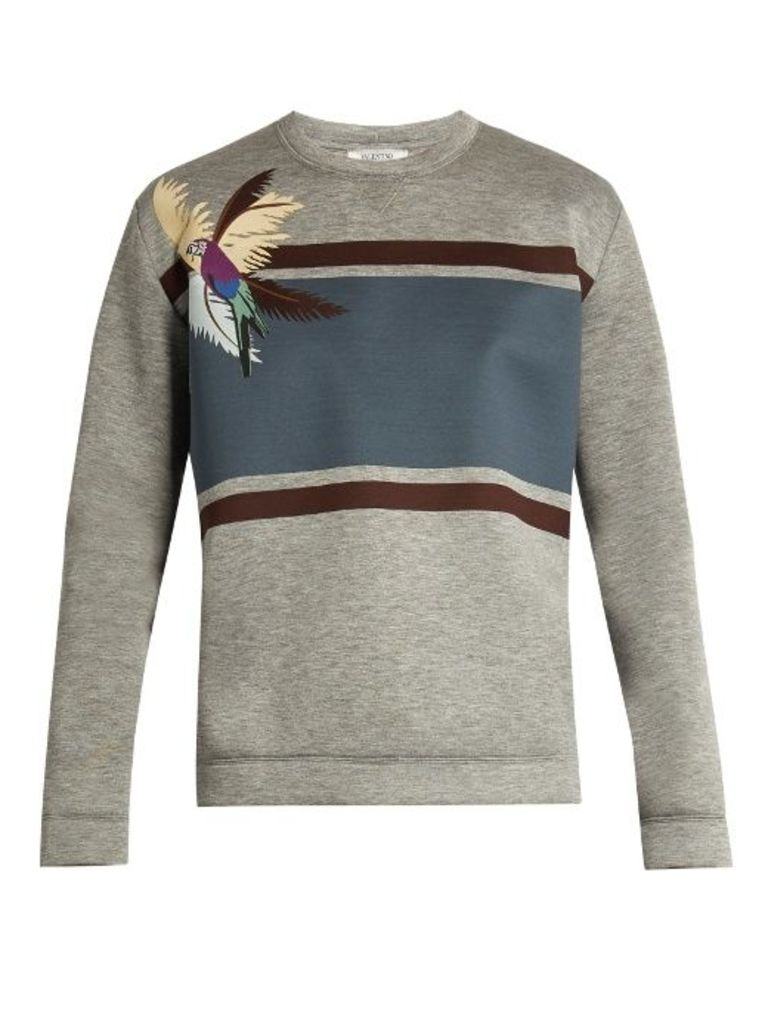Parrot-appliqu neoprene sweatshirt