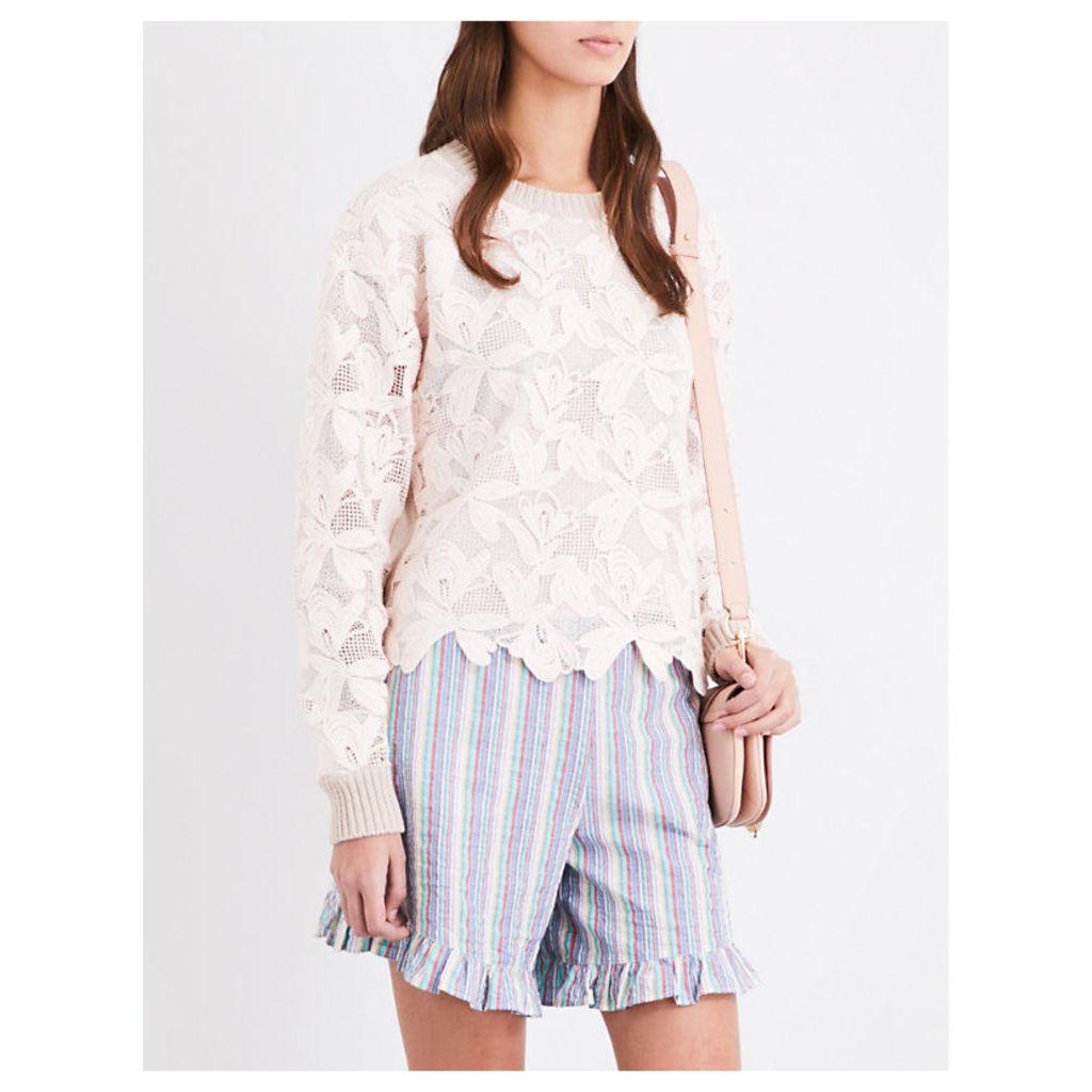 Floral lace cotton-mesh sweatshirt