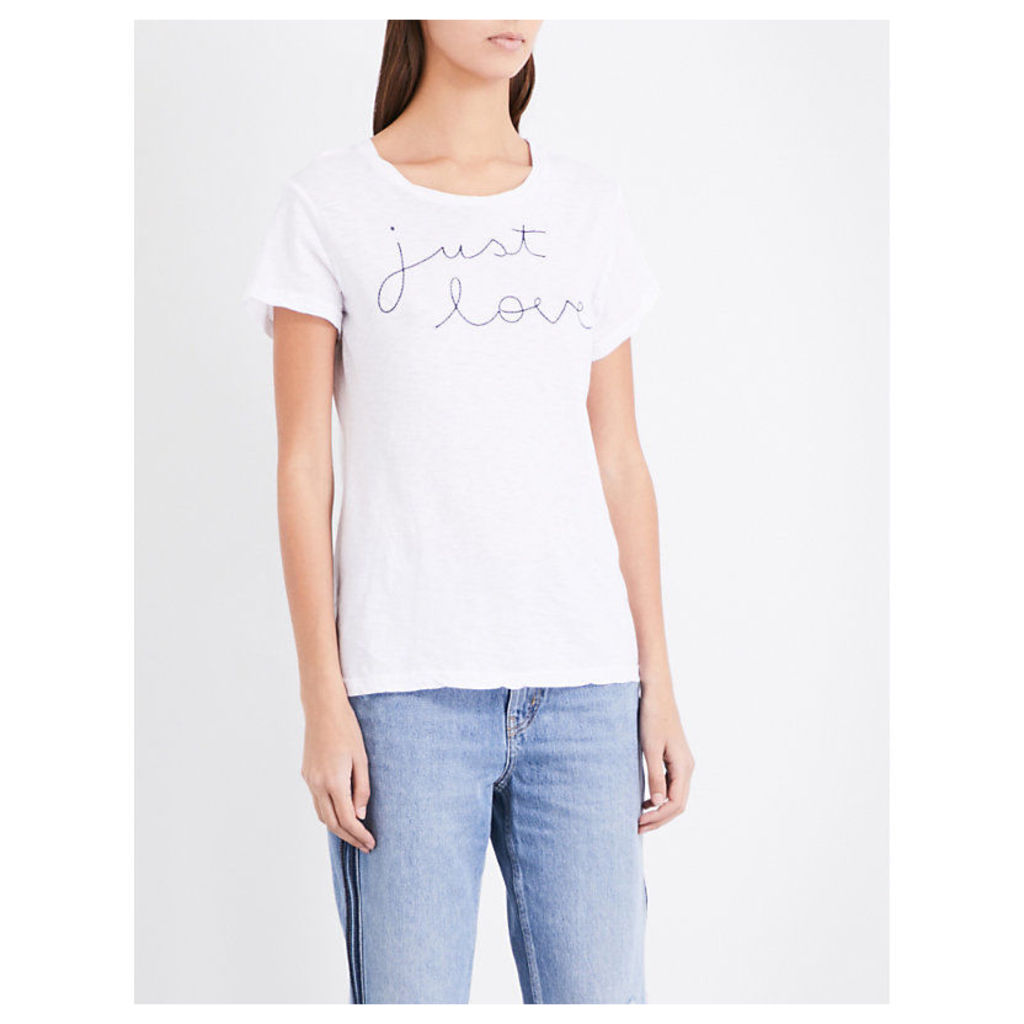 Just Love embroidered cotton-jersey T-shirt