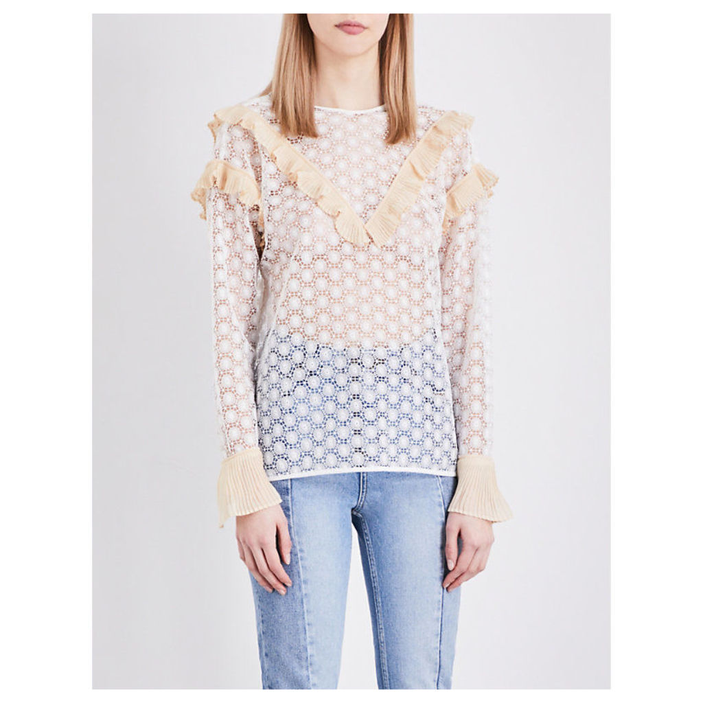 Frilled guipure lace top