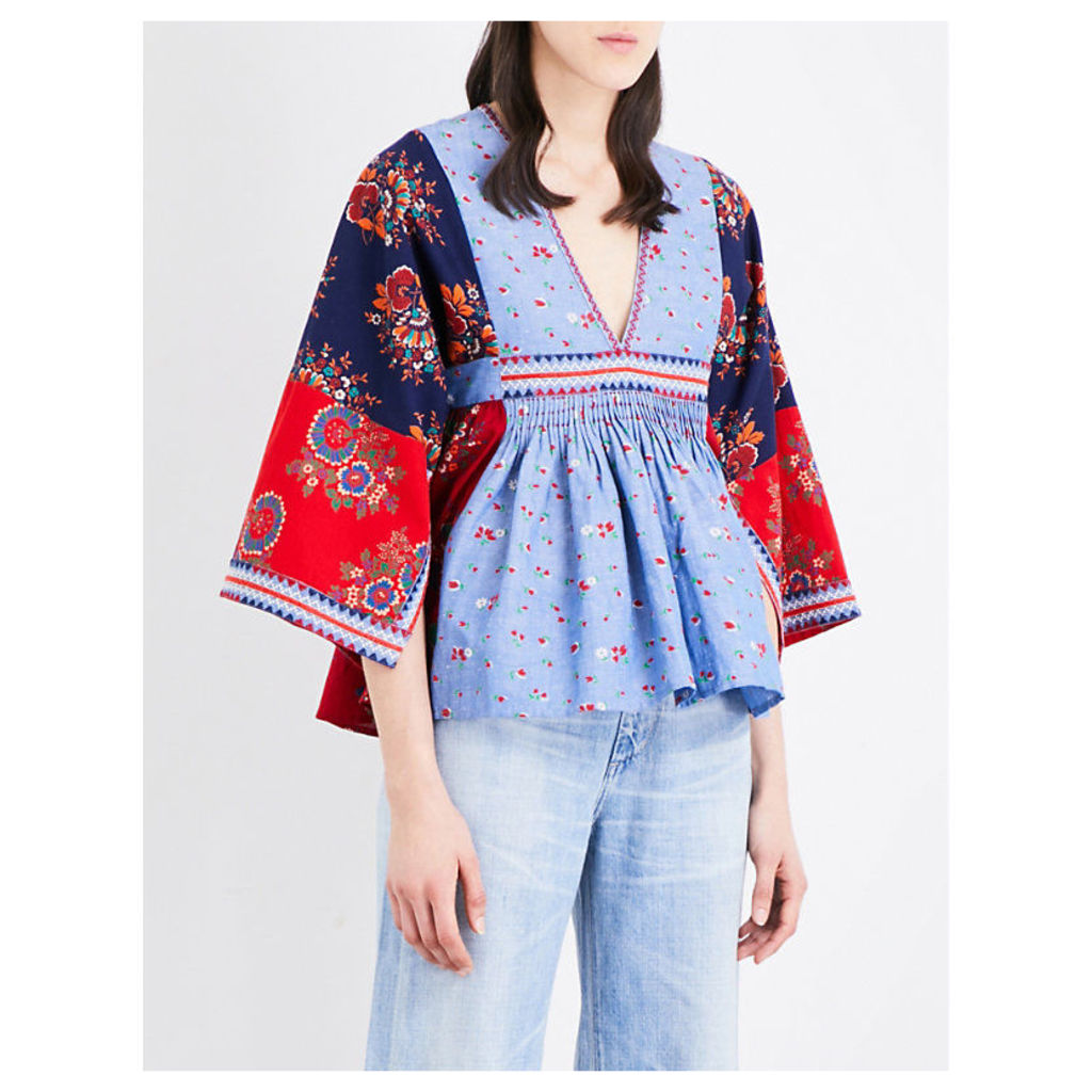 Nadi embroidered patchwork cotton and linen-blend blouse