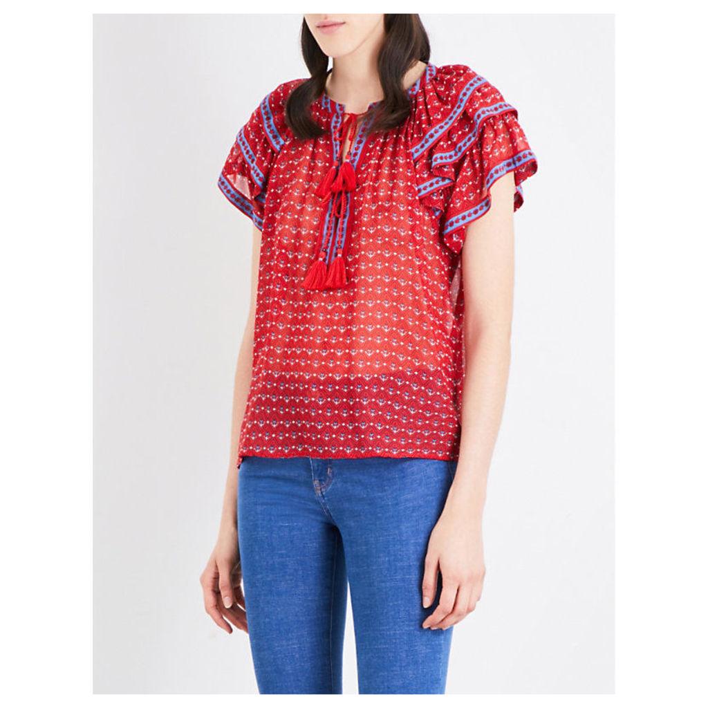 Freya floral-print silk-chiffon blouse