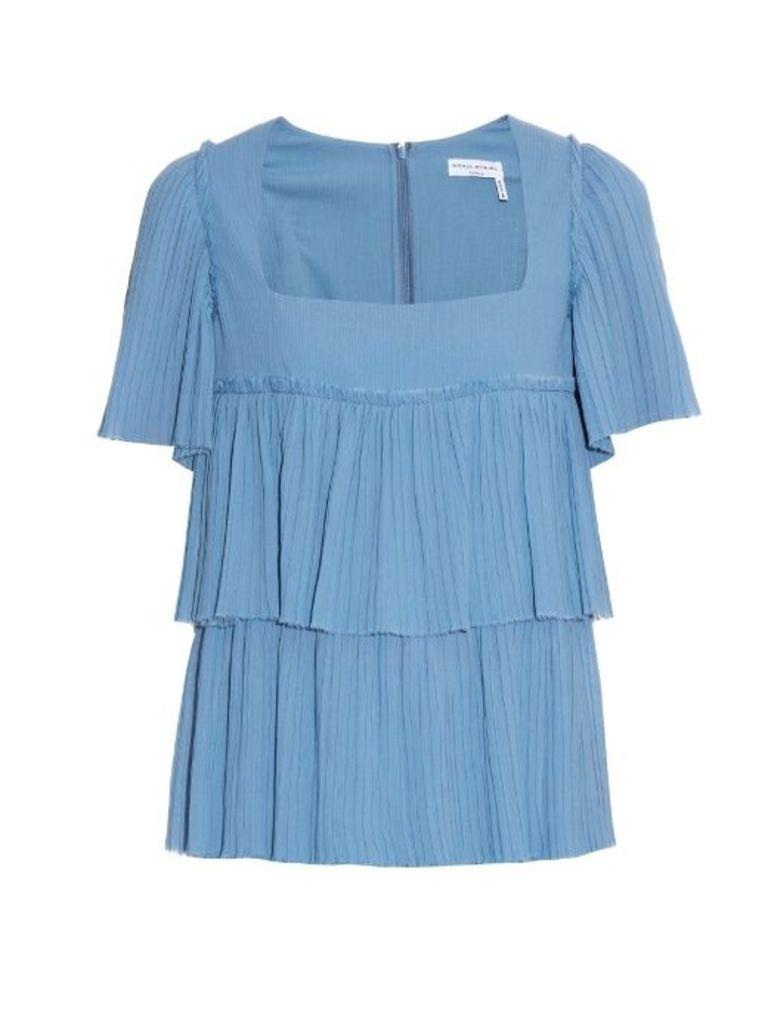 Square-neck pleated-cotton top