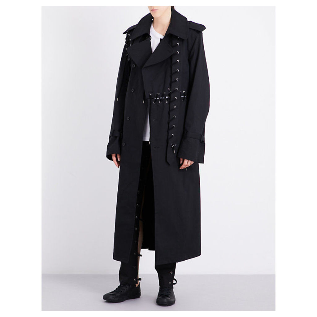 Lace-up detail cotton trench coat
