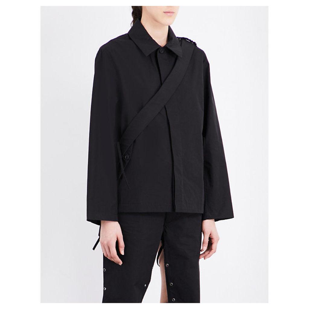 Strap-detail cotton-blend jacket
