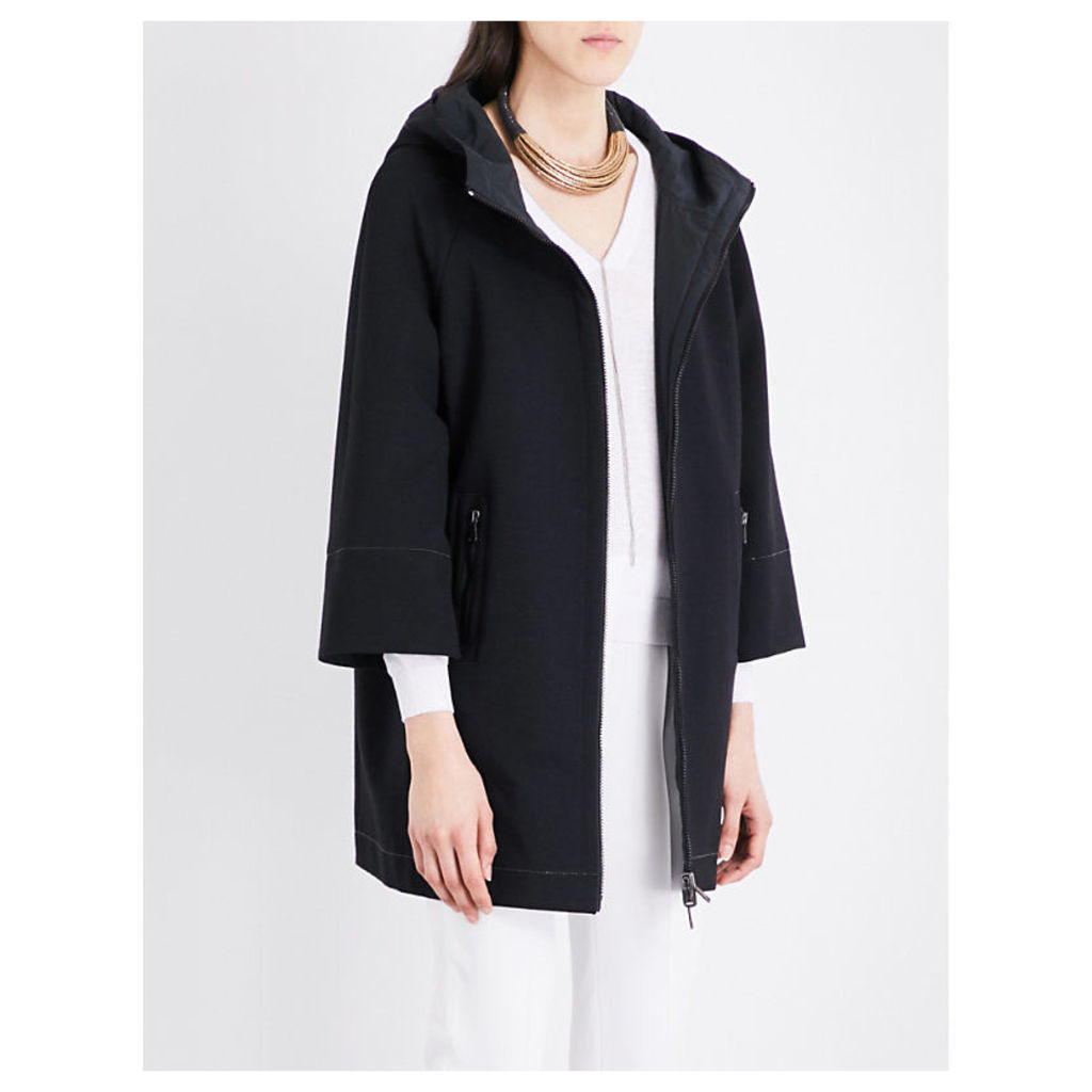 Chain-embellished woven coat